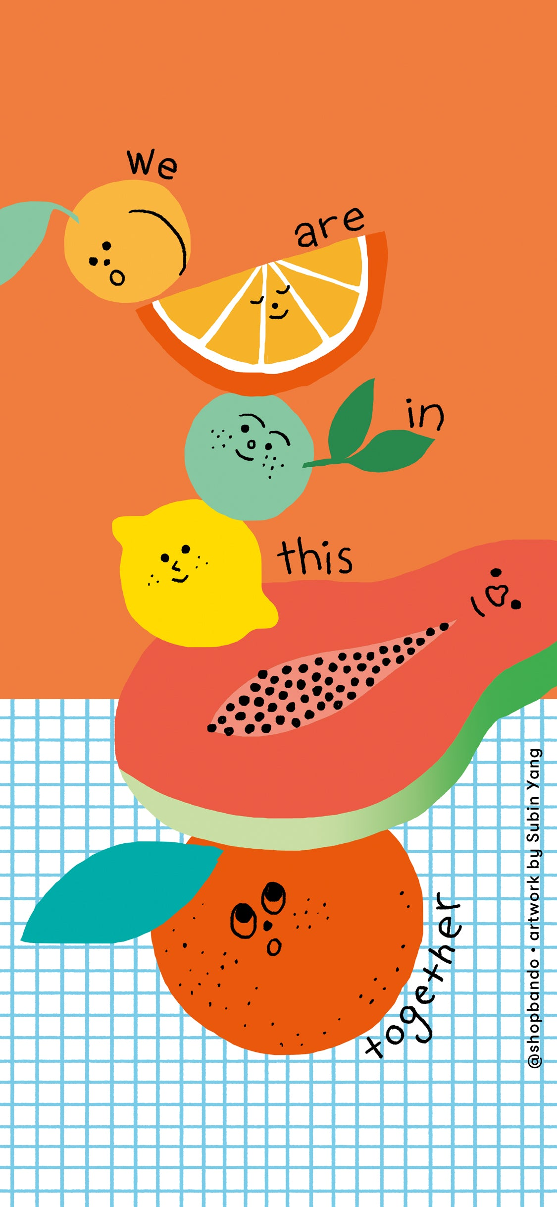 stack of fruit with we are in this together lettering