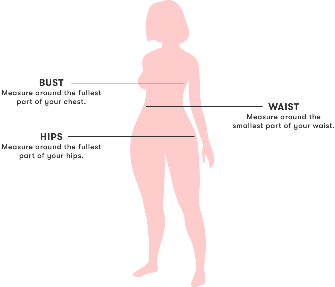 how to measure image illustration. For the bust: measure around the fullest part of your chest. For the hips: Measure the fullest part of your hips. and for the waist: Measure around the smallest part of your waist.