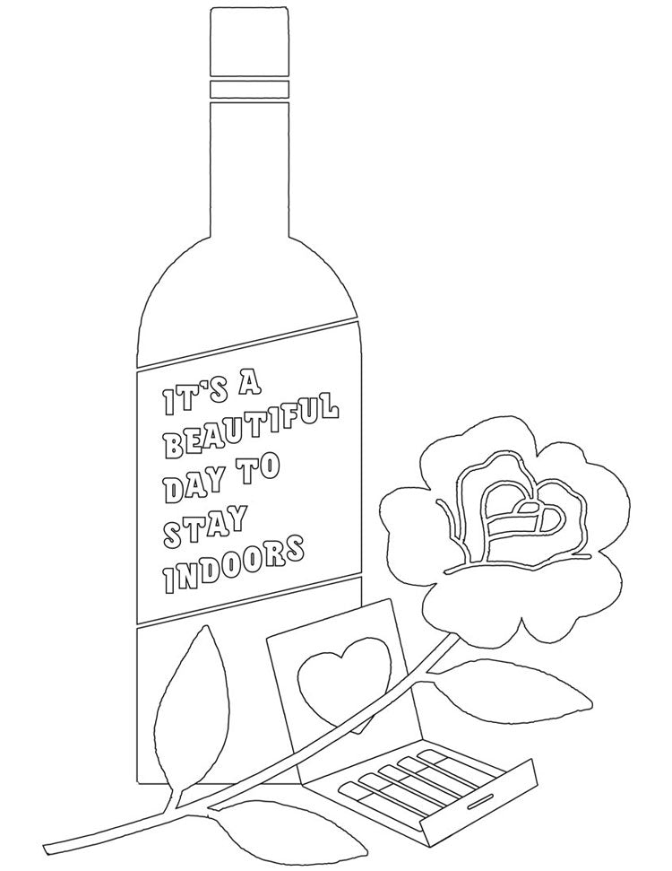 Coloring page with a wine bottle, a rose, and an open matchbook