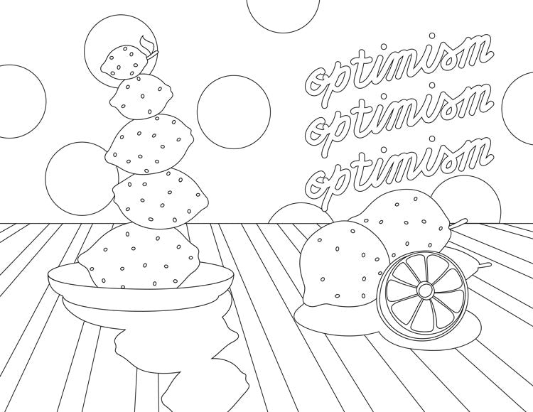 Coloring page with a bowl of lemons and the word Optimism repeated