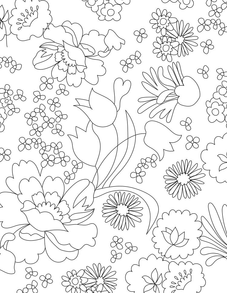Coloring page with multiple flowers of different types