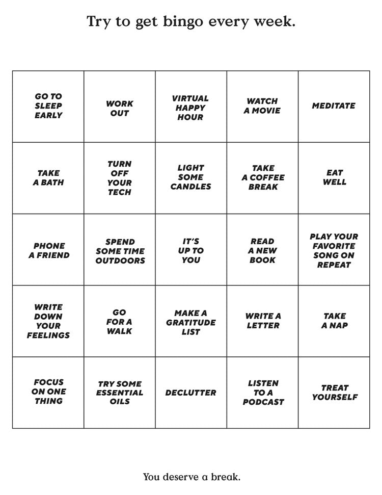 Worksheet with bingo spaces for self-betterment