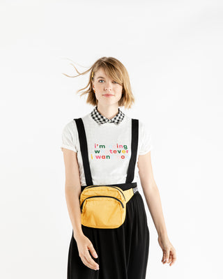 Black pinafore skirt.