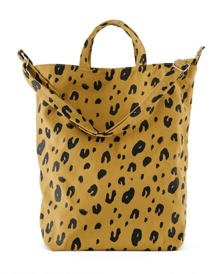This Duck Bag comes with a leopard print pattern throughout.
