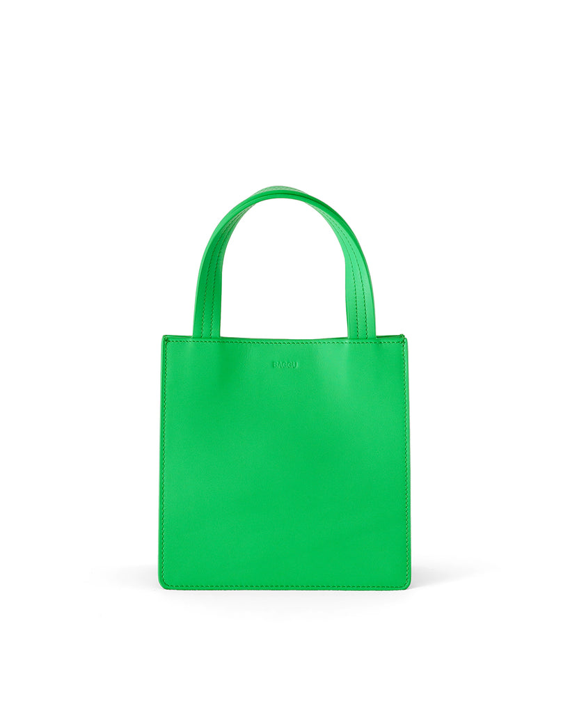 This retail tote comes in a bright leaf green color.
