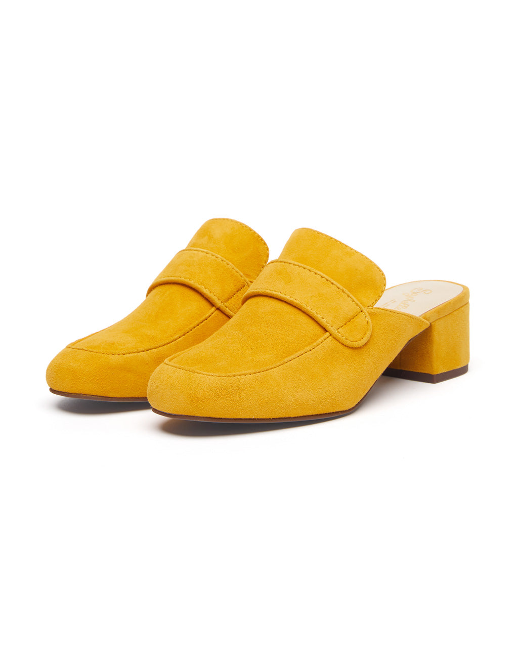 Yellow suede mule heels with a 2 inch heel.
