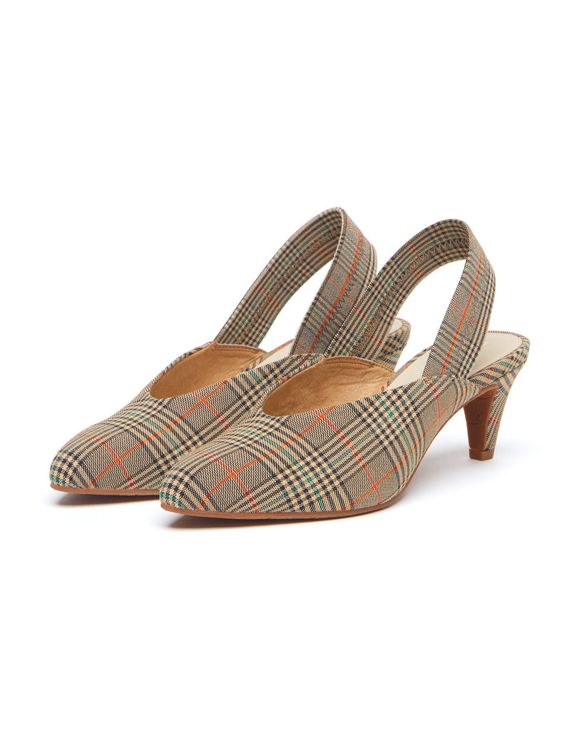 Plaid slingback kitten heels with a 2.5 inch heel.