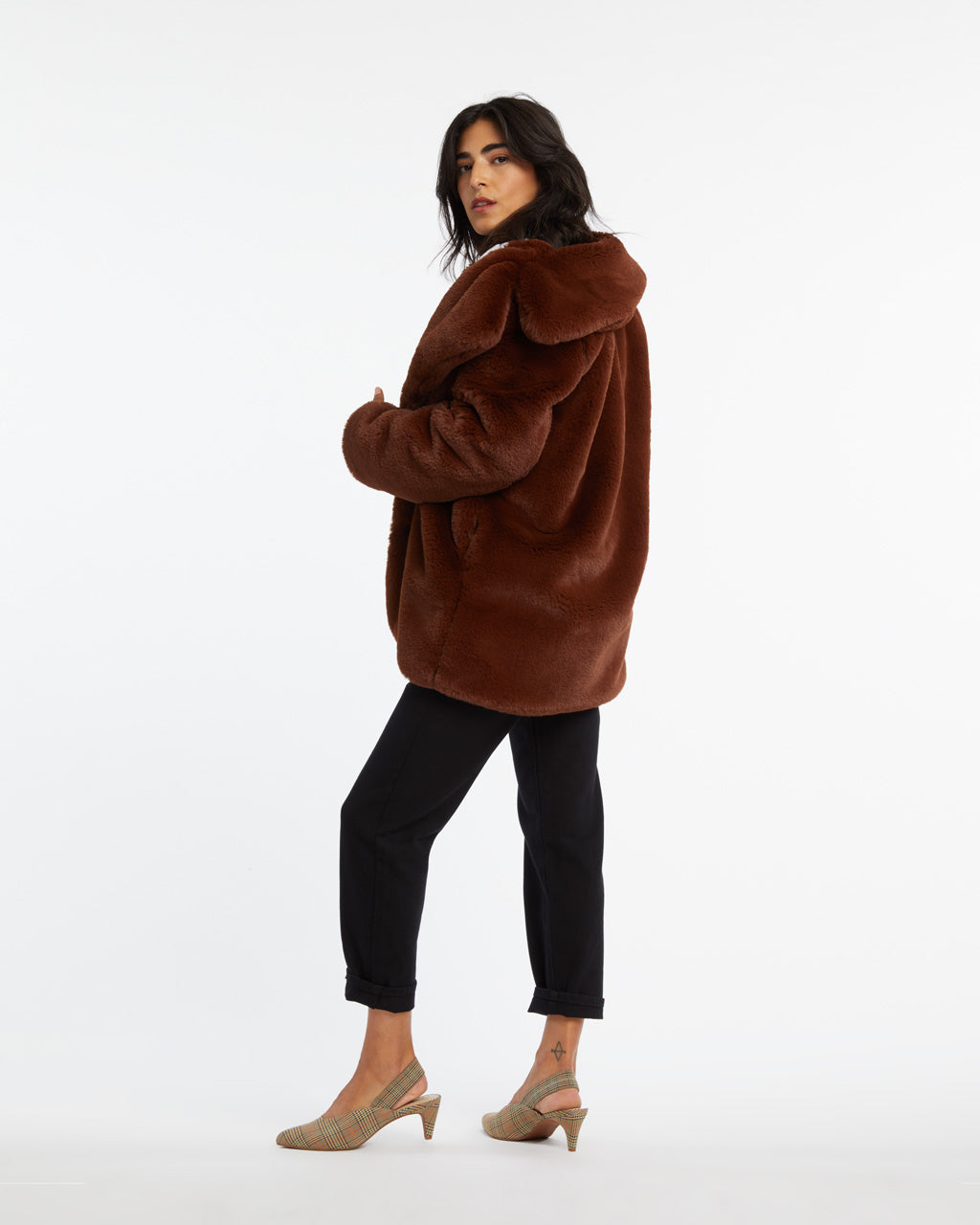 Brown faux fur coat.