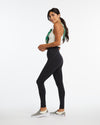 Full length compression active leggings in black.
