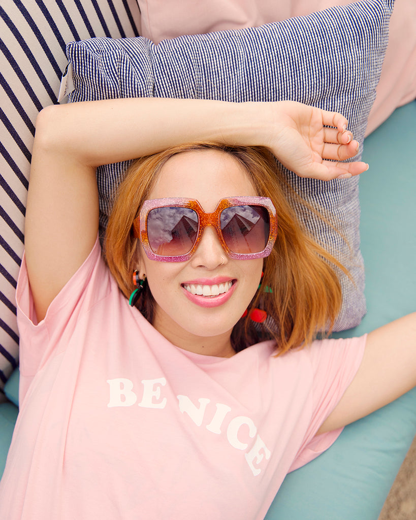 glitter square frame sunglasses - pink & orange