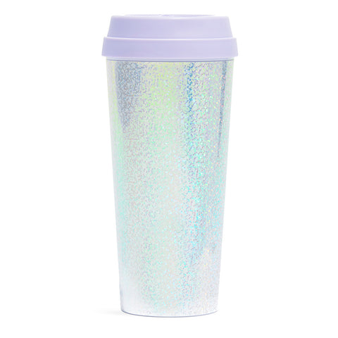glitter disco holographic plastic insulated travel mug with purple lilac lid