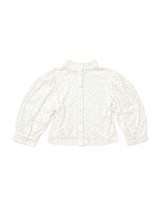 white daisy lace blouse shown on flat lay