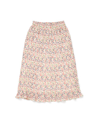 white pleated midi skirt with multi colored dots