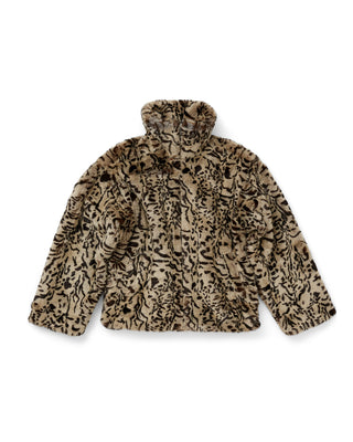 faux fur animal print jacket