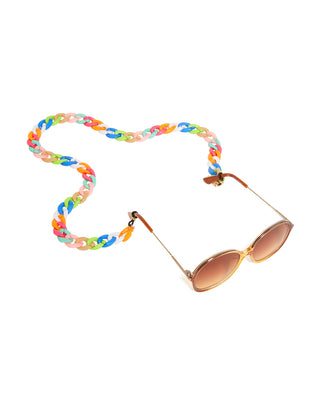 rainbow glossy accessory chain shown on sunglasses