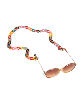 rainbow matte accessory chain shown on sunglasses