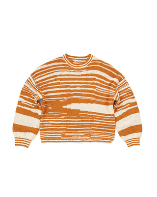 orange and white abstract stripe sweater