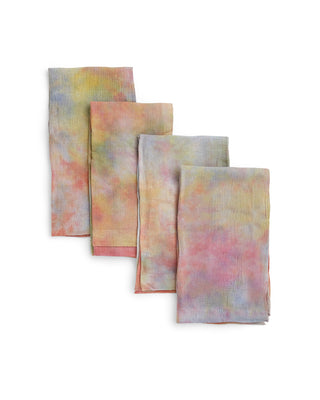 set of 4 multi color tie dye napkins