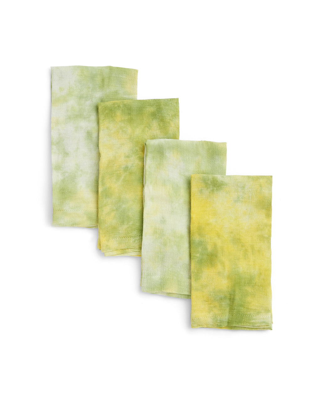 set of 4 green tie dye napkins