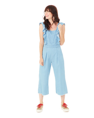 ruffle chambray jumpsuit