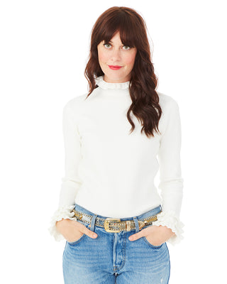 ivory ruffle turtleneck