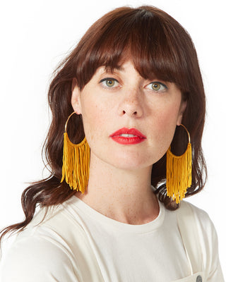 large hoop tassel earrings - mustard