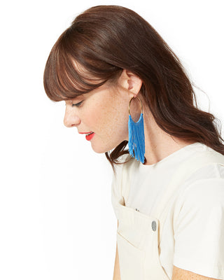 large hoop tassel earrings - cobalt