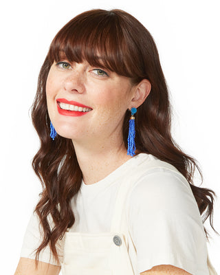 beaded tassel earrings - cobalt