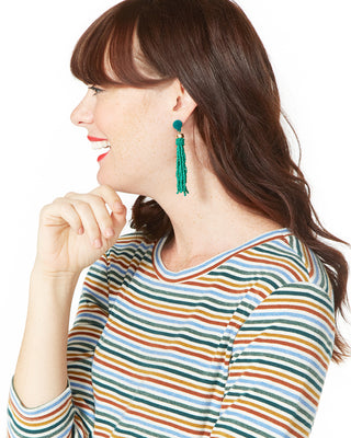 beaded tassel earrings - emerald