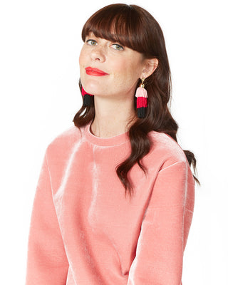 star tassel earrings - black, red, pink