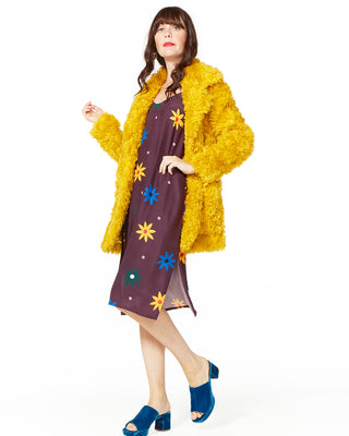 mustard teddy fur coat
