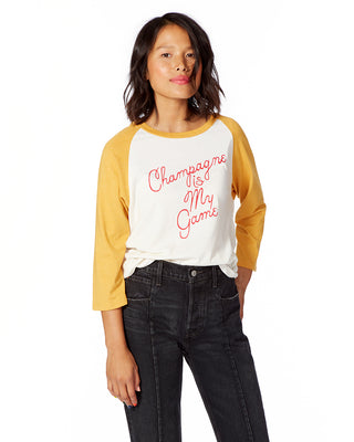 champagne is my game oversized baseball tee