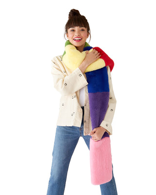 furry rainbow scarf