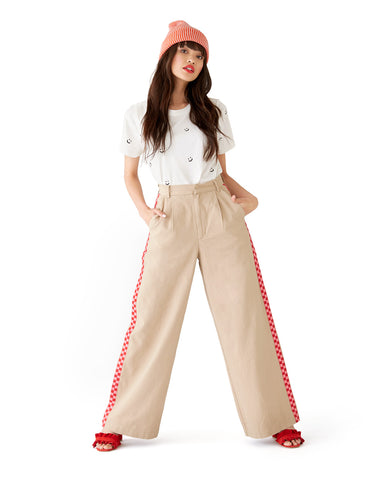 Checkered Wide Leg Cargo Pants
