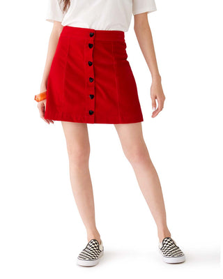 heart button velvet skirt