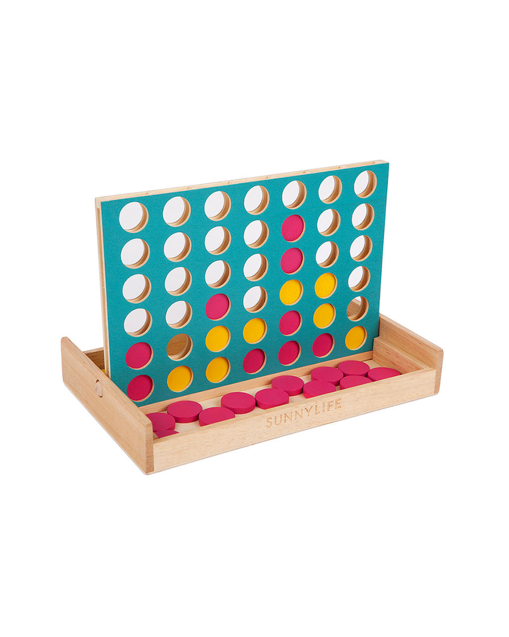 bright wooden travel size 4 in a row game