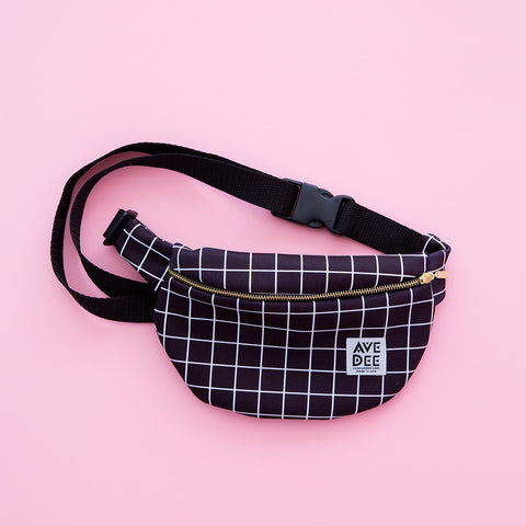 black and white grid fanny pack by avenue dee