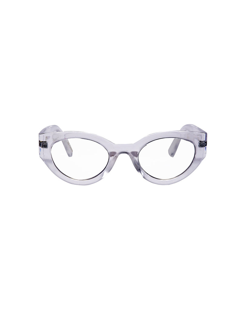 clear blue light glasses with a round cat eye like frame