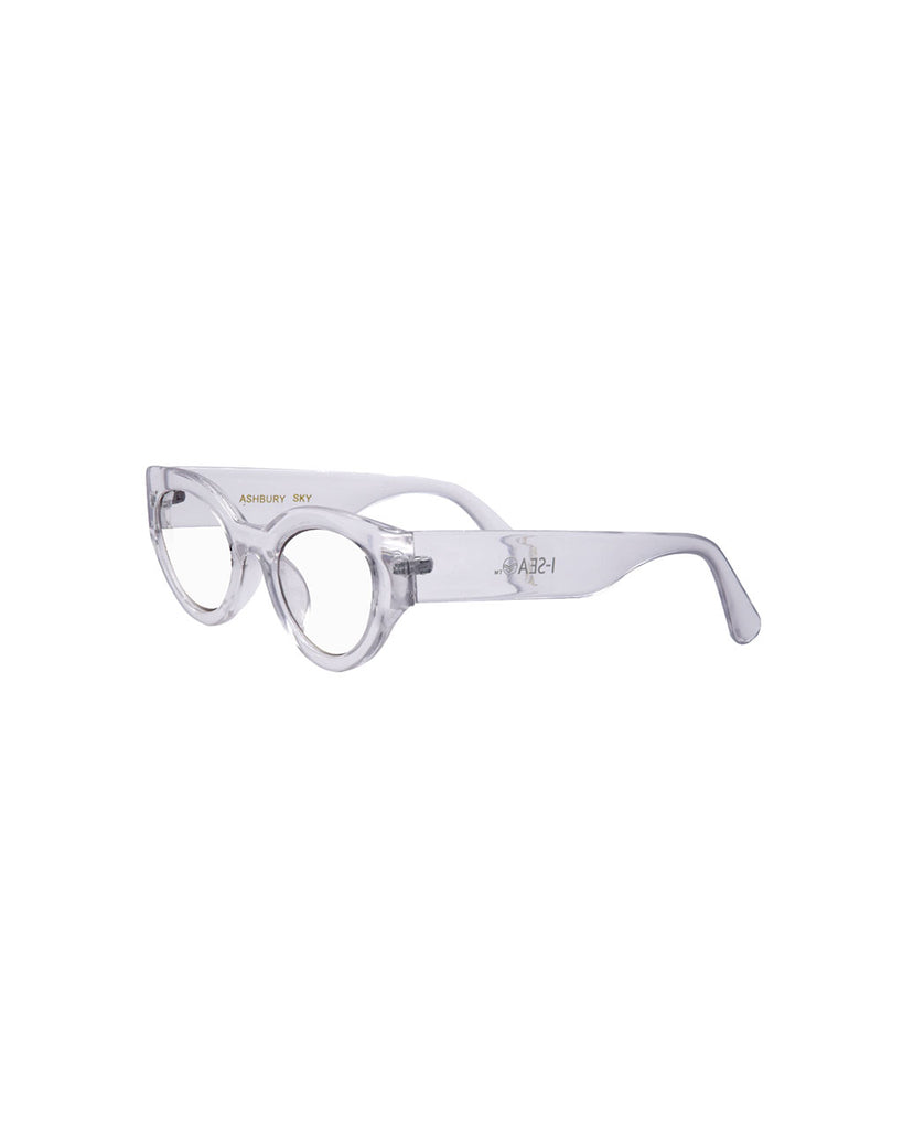 side view of clear blue light glasses with a round cat eye like frame