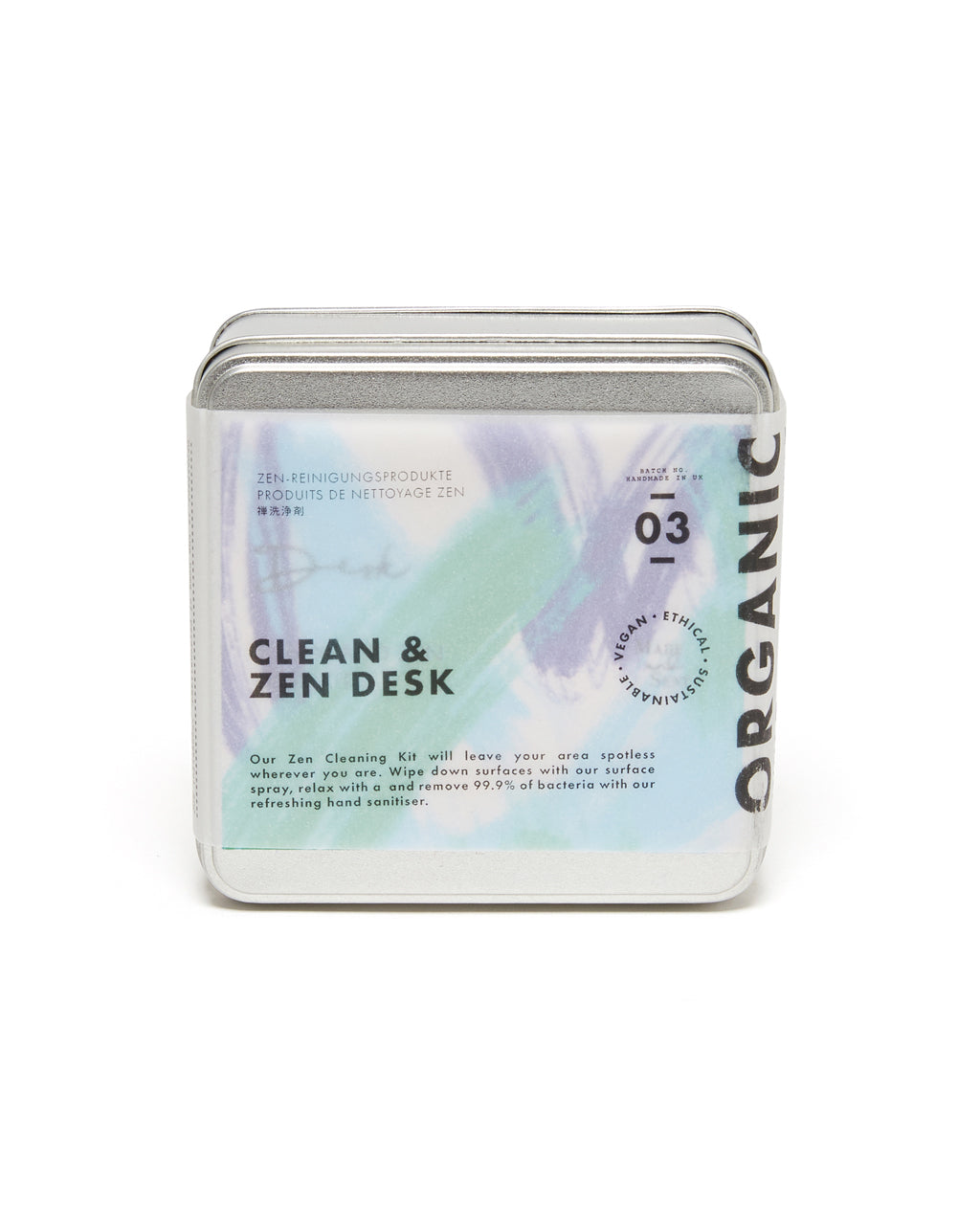 clean & zen desk kit in tin packaging