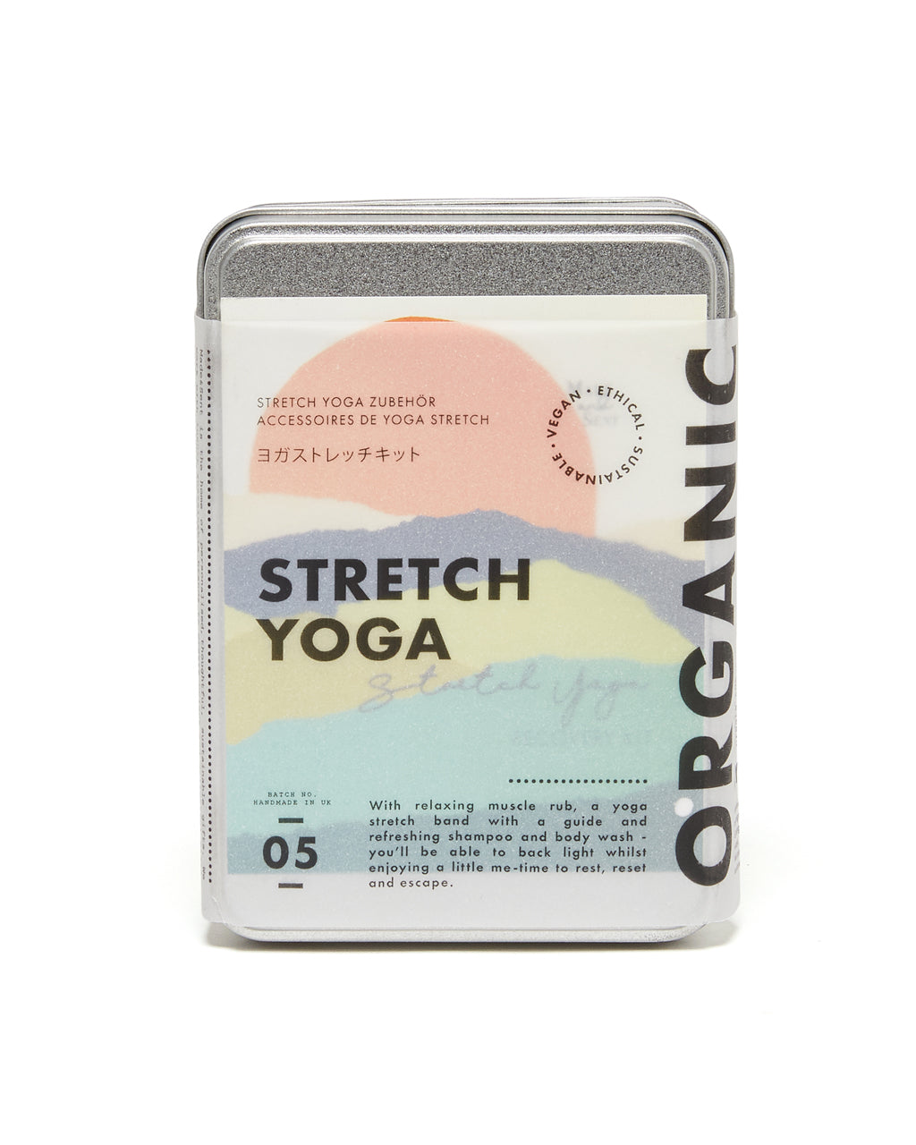 yoga stretch care kit in tin packaging