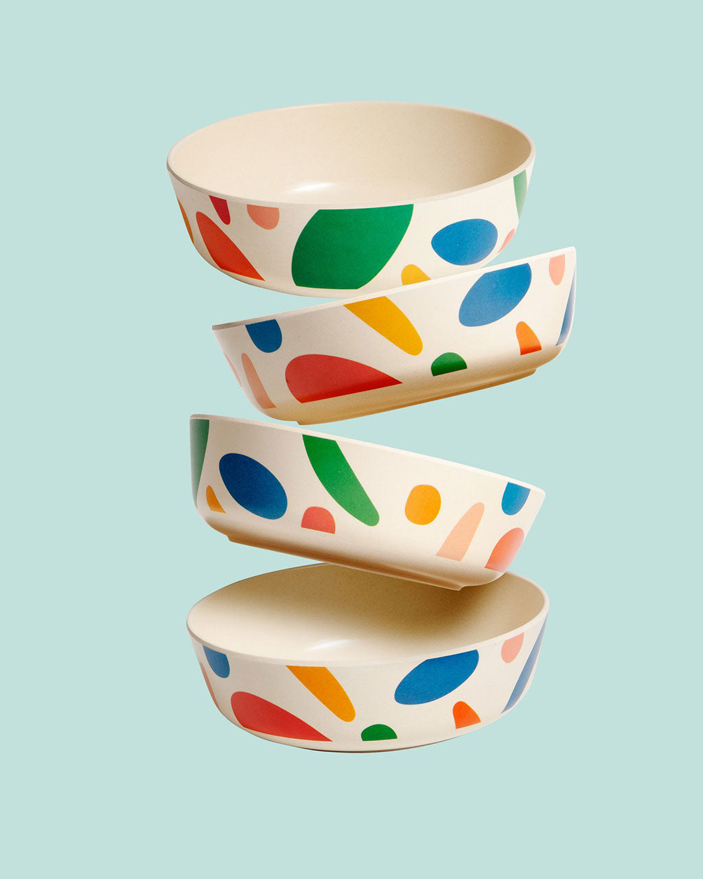 set of 4 bamboo bowls shown in blots design