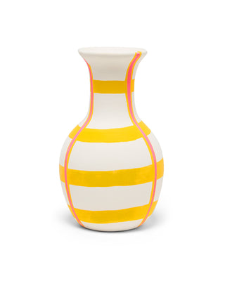 white vase with plaid like design