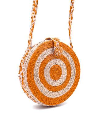akumal woven circle crossbody bag - sorbet
