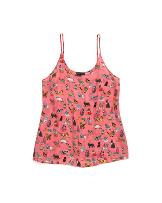 fancy dress cats pj silk top