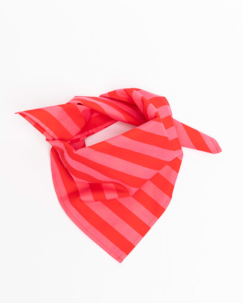 red and pink stripe bandana