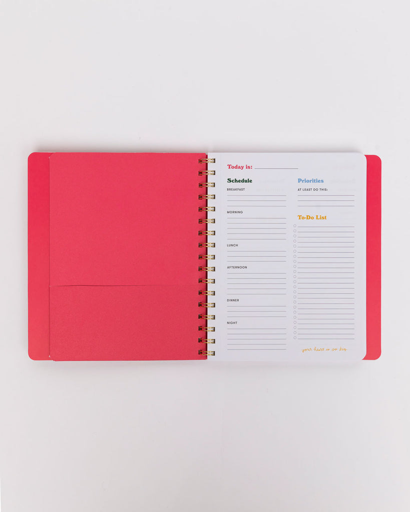 interior page of to-do planner with interior pocket