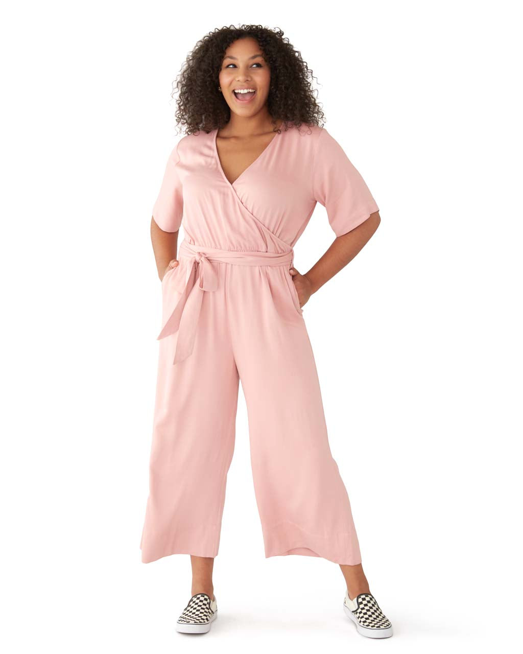 This jumpsuit comes in pink.