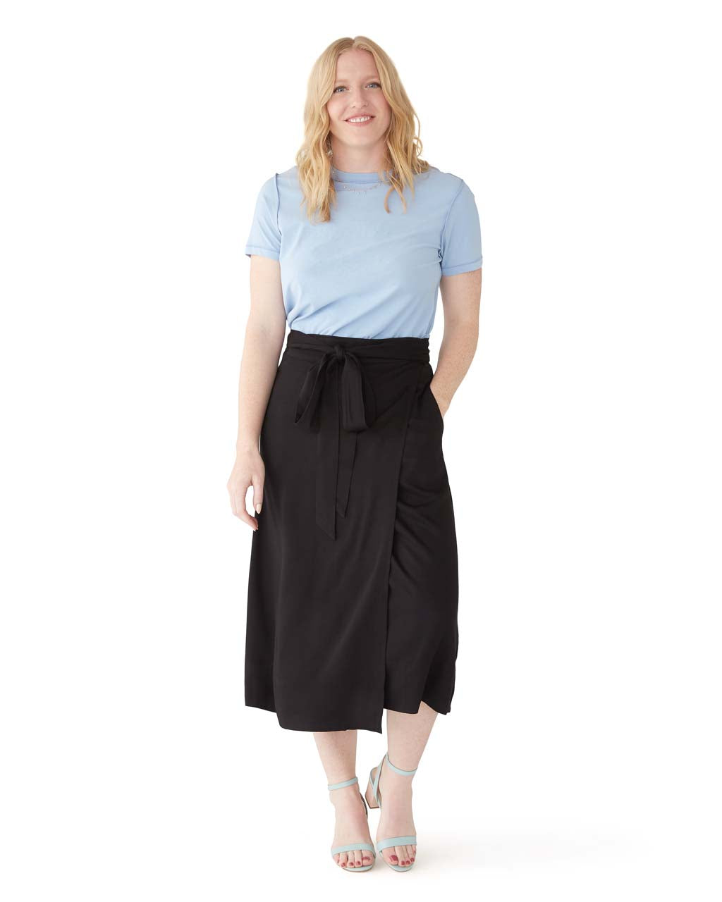This wrap skirt comes in black.