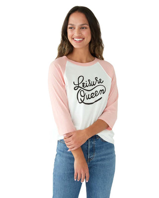 This baseball tee comes in white with pink sleeves and 'Leisure Queen' printed in black on the front.